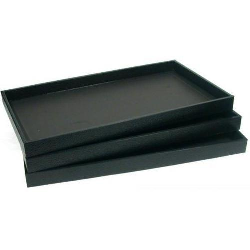 3 black leather display trays