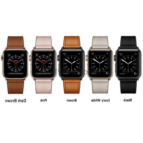 40/44mm Leather Watch Band iWatch 5 4 3