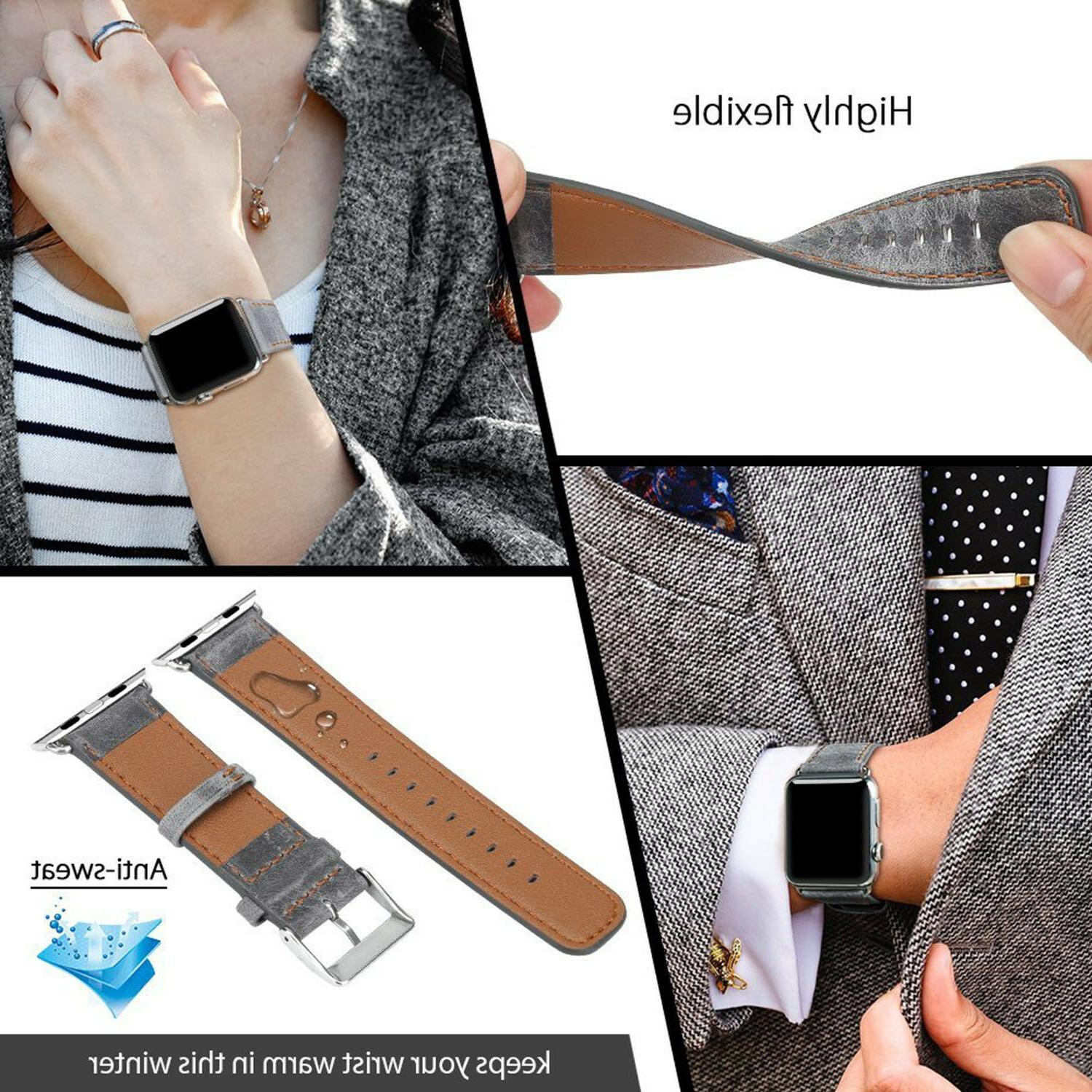 42MM Leather Strap Band Watch 3 1
