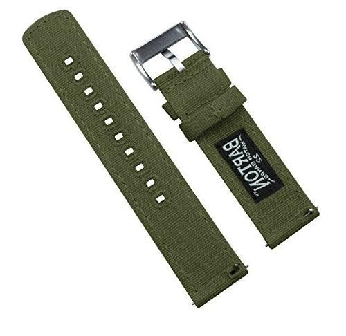 Barton Canvas Watch Straps - Choose Color & Width - - Army Green