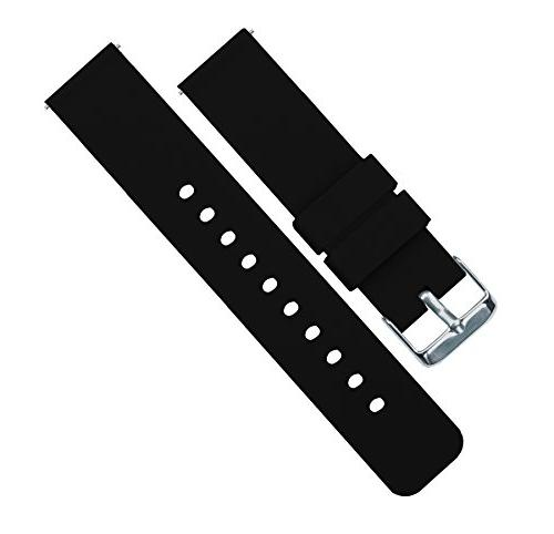 Barton Silicone Watch Bands - Release - Choose Width 20mm, 24mm Black 18mm