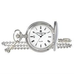 Charles-Hubert Paris 3916 Stainless Steel Quartz Pocket Watc
