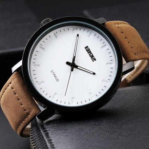 Mens Unique Analog Quartz Waterproof Business Casual Leather