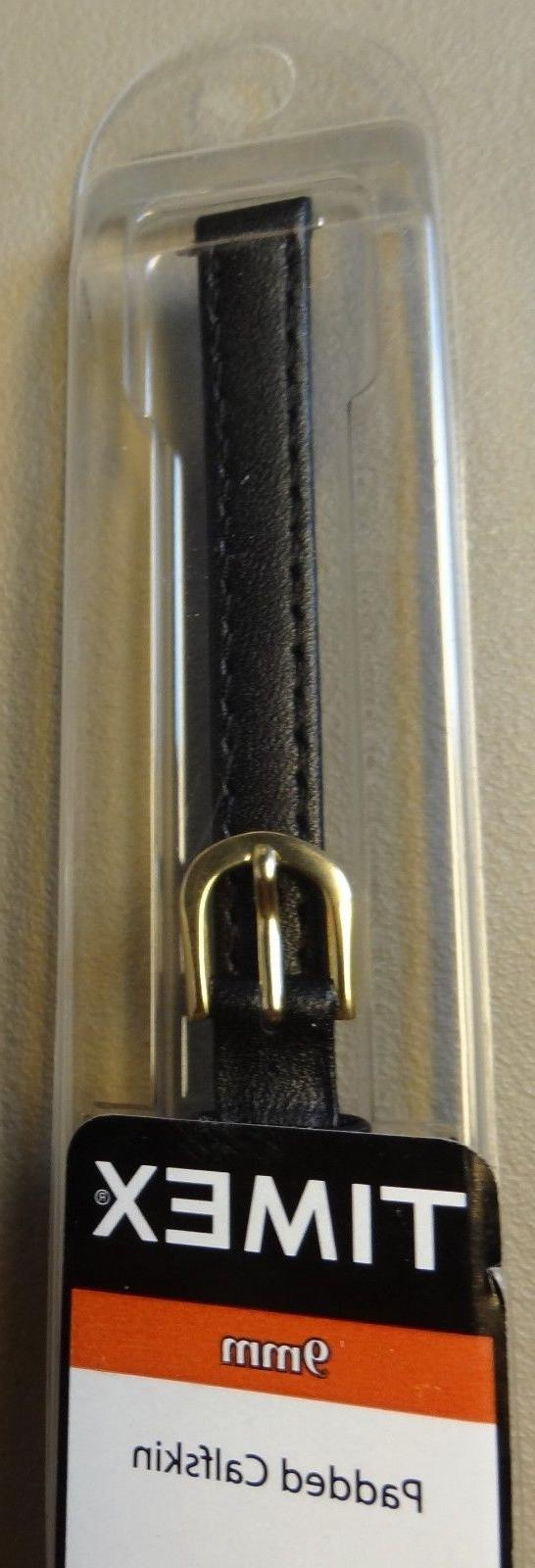 Womens Timex Black Padded Genuine Leather Calf 9mm Watch Ban