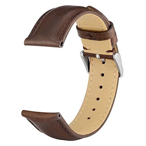 WOCCI 18mm - Dark Vintage Leather Strap Silver