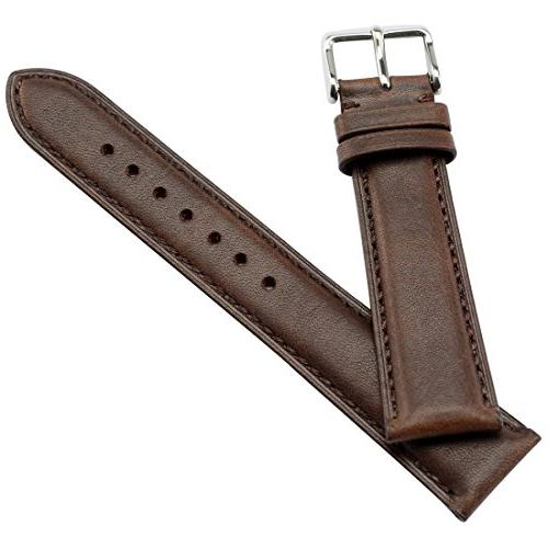 WOCCI 18mm - Dark Brown Vintage Leather Watch Strap Silver