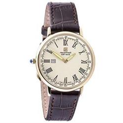 Steinhausen Men's Altdorf Gold Tone Stainless Steel Brown Le