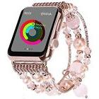 Apple Watch Band Bling Pink Beaded Faux Pearl Strap Women -