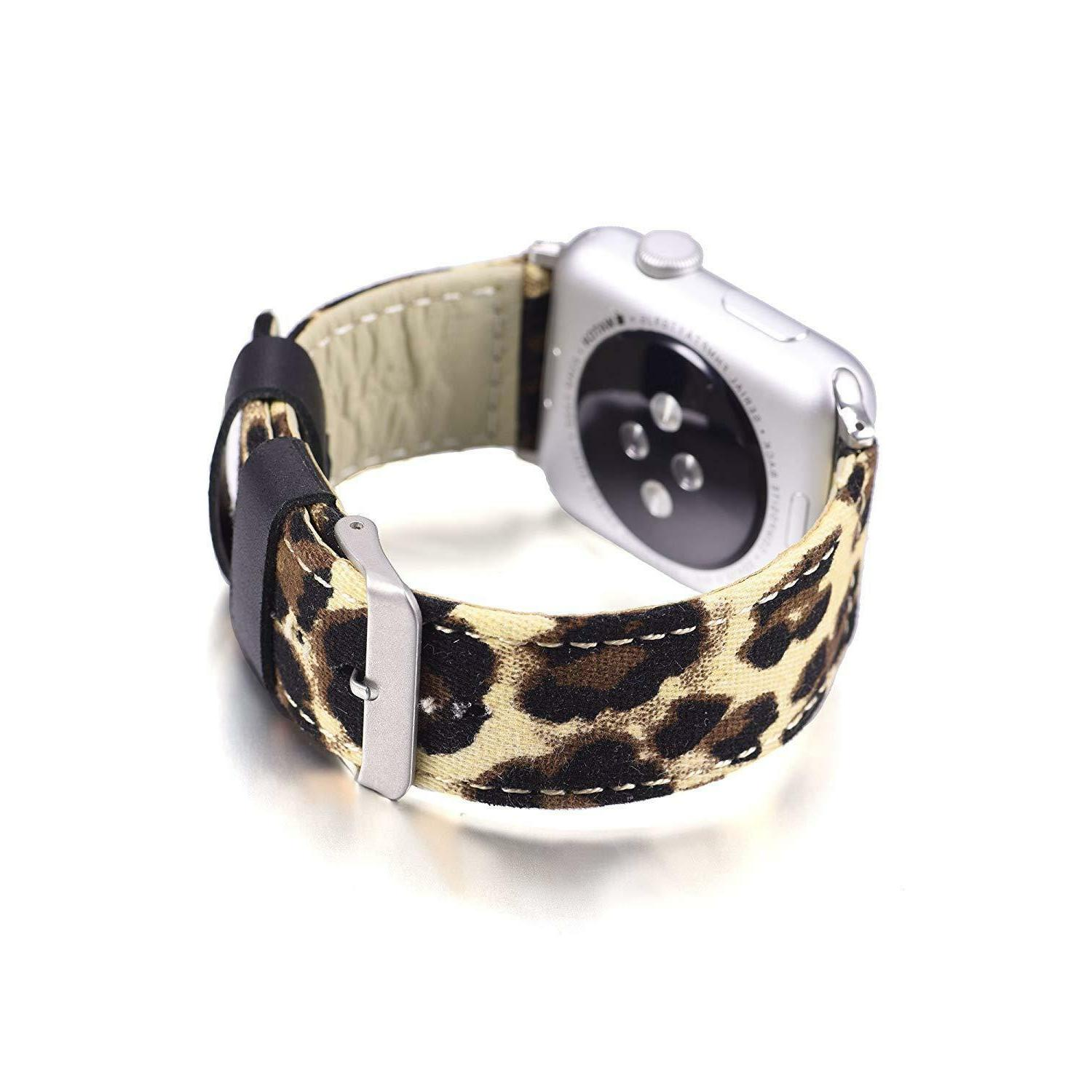For Apple Watch Leopard Leather Strap 1