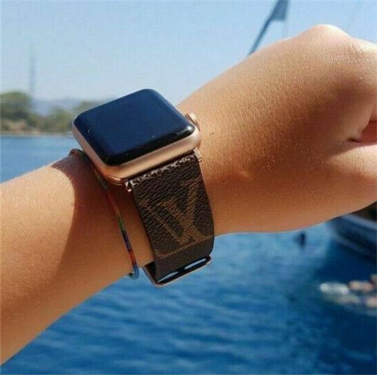 For Apple Watch Band Luxury Brand Design GG LV Brown