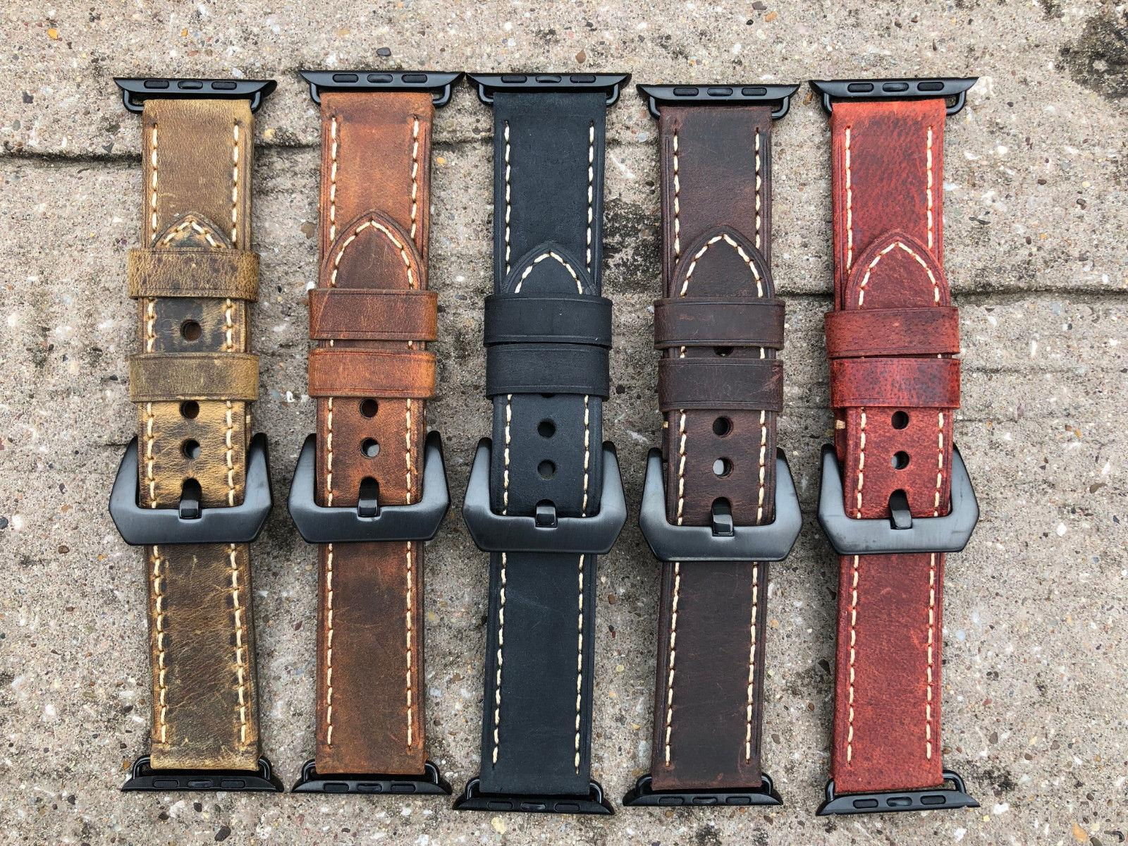 For Apple Watch 4 2 Vintage Bull Leather Watch Band