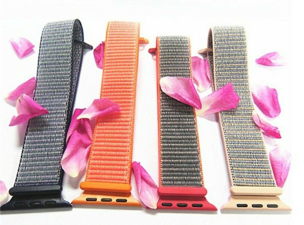 For 5 4 38/40 42/44mm Woven Loop iWatch Band