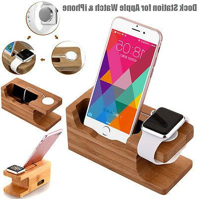 Bamboo Charging Dock Station Charger Mount Stand F Apple Wat