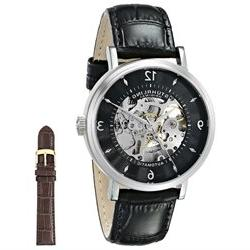 Stuhrling Men's 42mm Black Calfskin Stainless Steel Case Dat