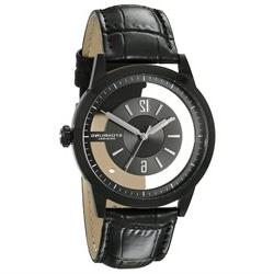 Stuhrling Men's 42mm Black Calfskin Stainless Steel Case kry