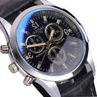 Fashion Men's Black Leather Stainless Steel Military Sport Q