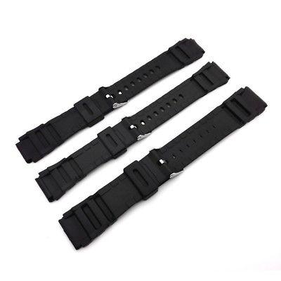 Black Rubber Silicone Style Watch Strap SS Buckle