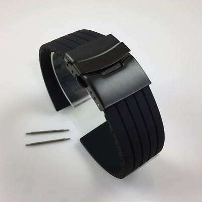 black rubber silicone replacement watch band strap