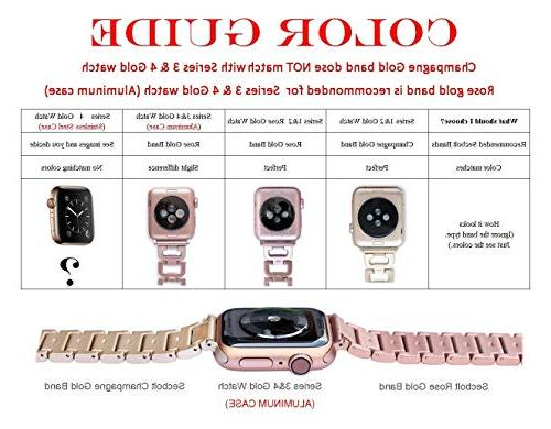 Secbolt Apple Band 42mm 44mm Series Series 2, Series Rhinestone Stainless Metal Wristband Strap, Rose