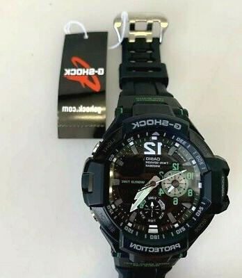 casio gravitymaster black green watch