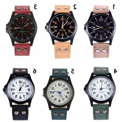 Military Leather Quartz Wrist Watch Stainless