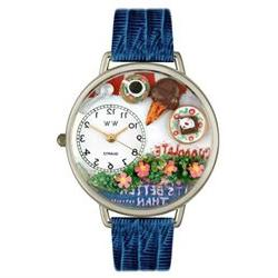 Unisex Chocolate Lover Royal Blue Leather and Silvertone Wat