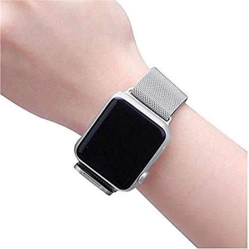 OROBAY Band 42mm Stainless Steel Loop Magnetic Compatible Watch 4 Series 3 2 Series 1, Silver