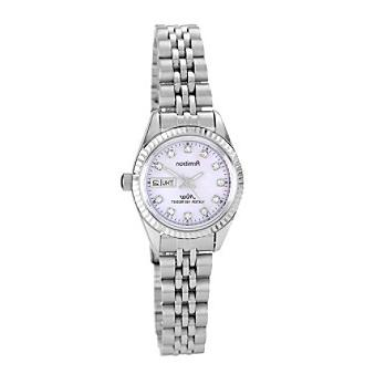 crystal accented silvertone pink mother