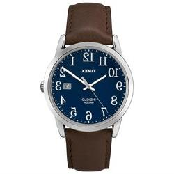 Timex Men's Easy Reader - Brown Leather Strap Blue Dial Date