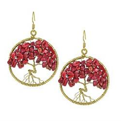 Eternal Tree of Life Red Coral Branch Brass Dangle Earrings