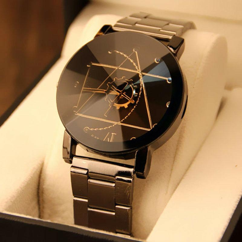 fashion mens watches stainless steel case band