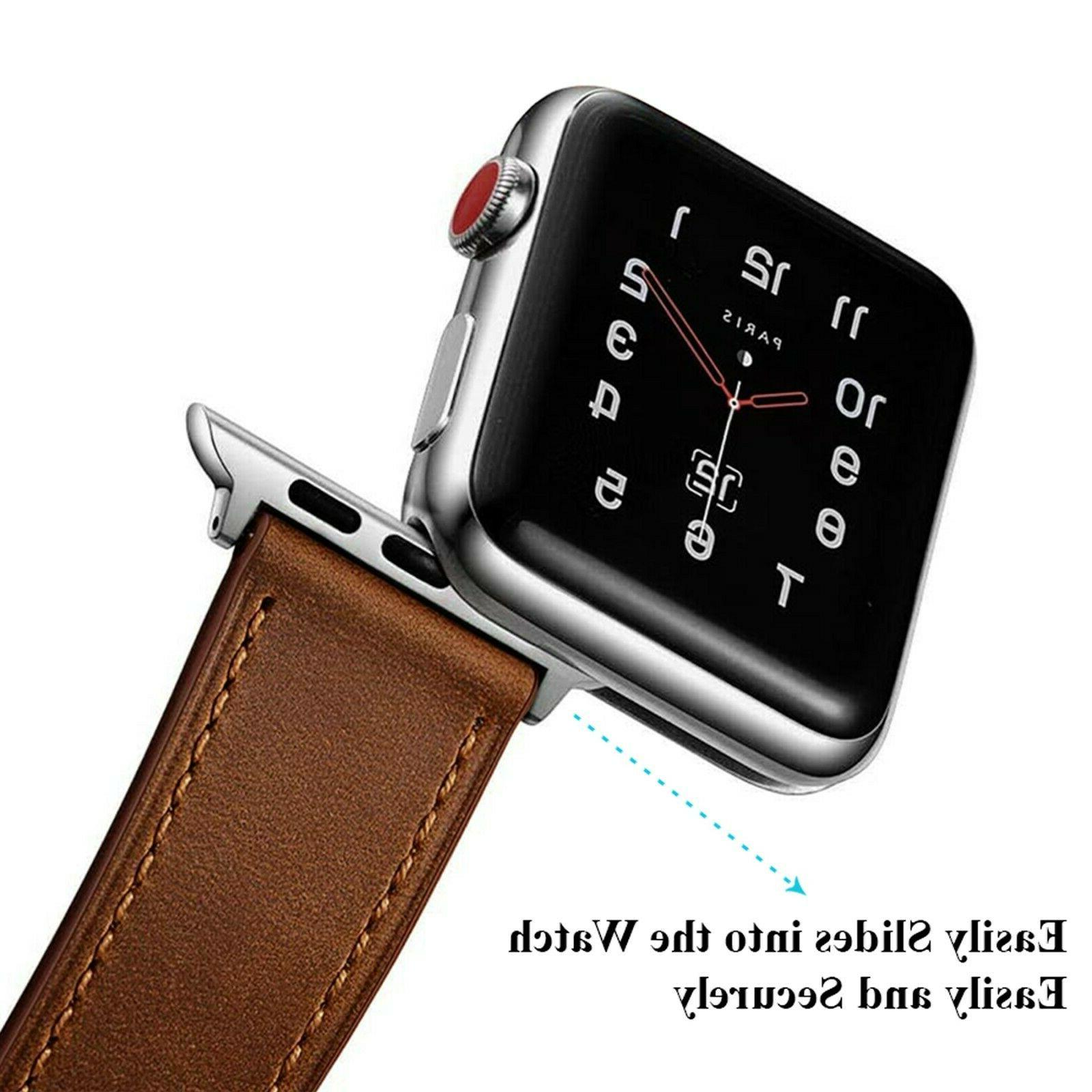 Apple Watch Band Genuine Leather Strap for Series 5 4 3 2 38