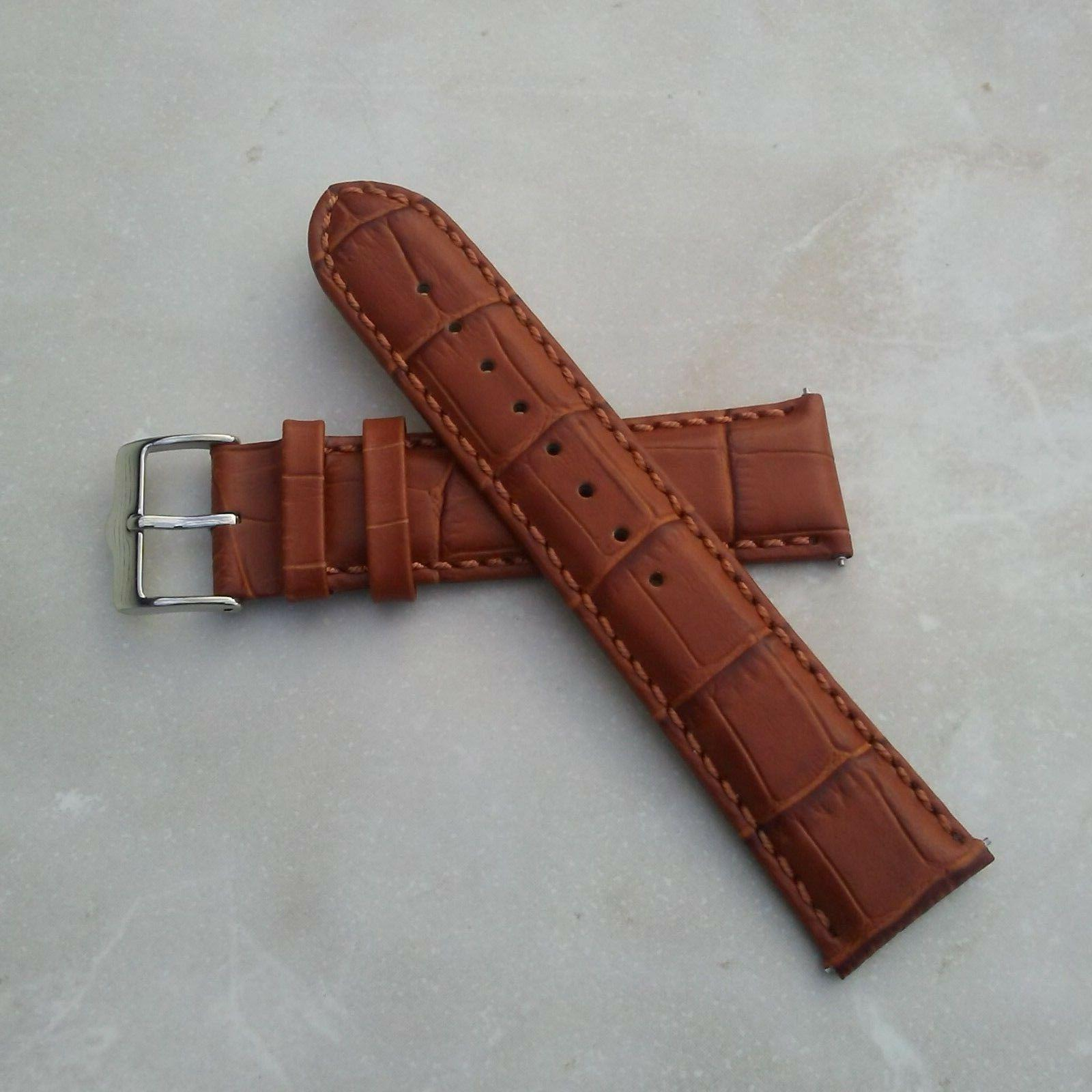 genuine leather watch band with alligator pattern