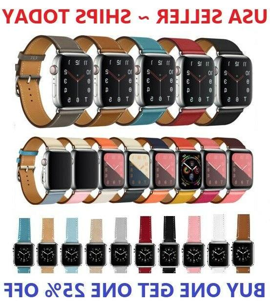 genuine leather wrist strap for apple watch