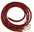 """69 CT. 16"""" GENUINE Red Ruby Faceted Rondelle Faceted Necklac"""