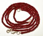 """64 CT. 16"""" GENUINE Red Ruby Faceted Rondelle Faceted Necklac"""