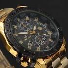 Luxury Mens Black Dial Gold Stainless Steel Date Quartz Anal