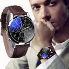 Luxury Men's Date Watch Stainless steel Leather Military Ana