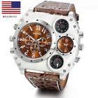 Luxury Quartz Sport Military Stainless Steel Dial Leather Ba