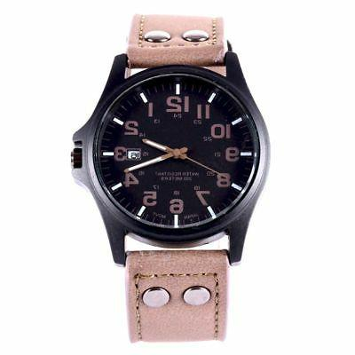 Men Sport Watches Military Leather Wrist Steel
