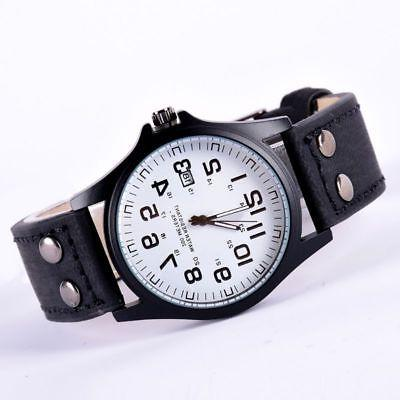Men Sport Watches Army Military Leather Wrist Watch Stainless