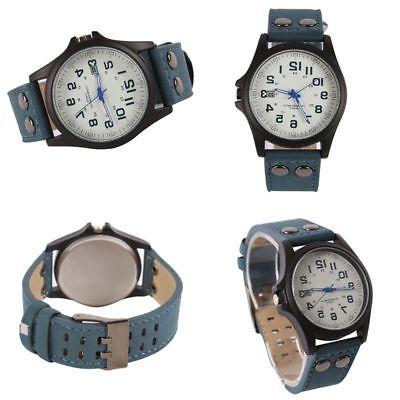 Men Watches Army Military Leather Quartz Wrist