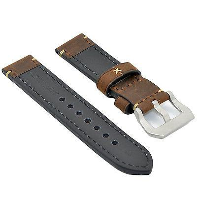 Mens Leather Band Strap 24mm Brown for Panerai