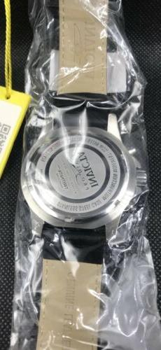 INVICTA Mens Pro Diver Black Leather Day/Date/24 Dial Mens Watch 21479 NEW!