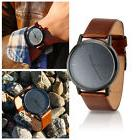 New Men's Modern Leather Stainless Steel Military Sport Quar