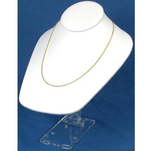 necklace bust white leather showcase