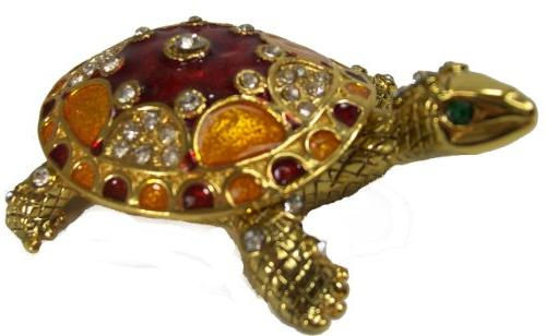 red gold turtle bejeweled collectible