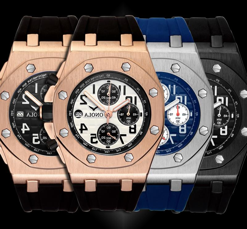 Relojes Hombre Men's Watch Silicone Band Chronograph Waterpr