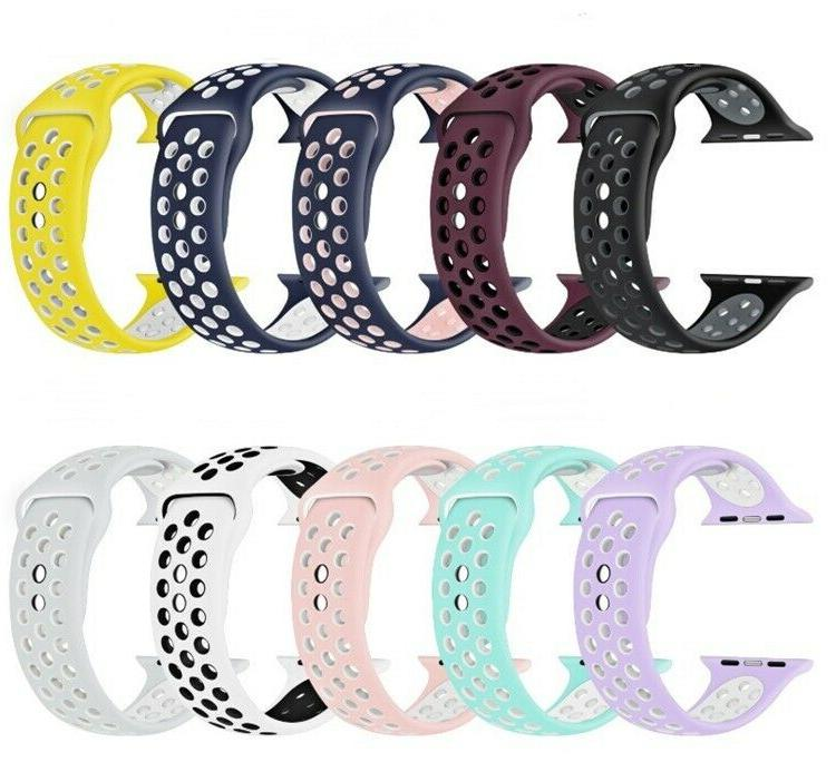 Replacement Silicone Sport Band 38mm 42mm For Nike+ Apple Wa