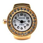 Womens Rose Gold Crystal Quartz Finger Ring Watch with Gift